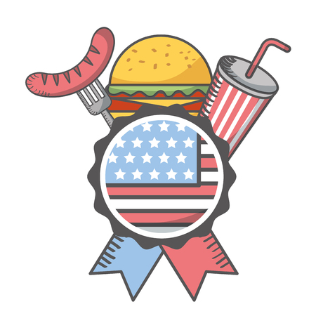 independence day american flag emblem burger soda sausage vector illustration