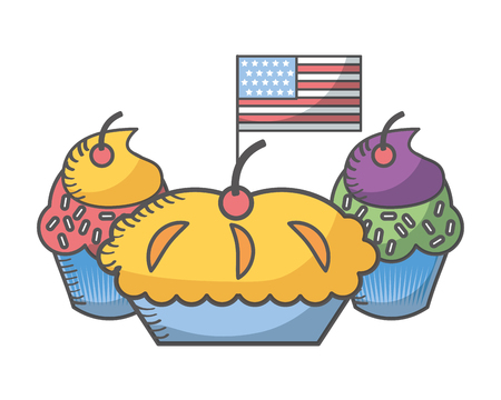 independence day american flag with sweet cupcakes vector illustration
