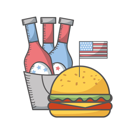 independence day american flag burger beer bottles in bucket vector illustration