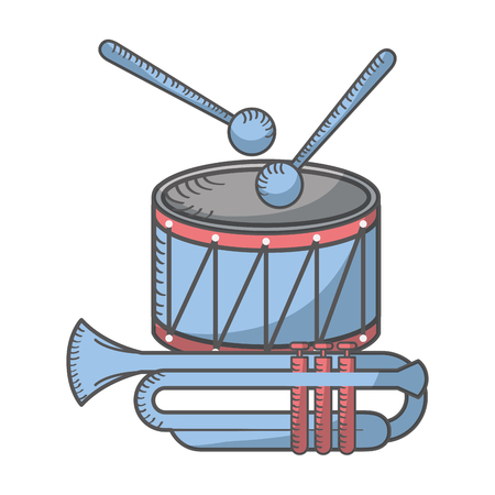 drum sticks and trumpet instruments musical vector illustration Stock Illustratie