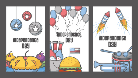 independence day american set decoration greeting cards vector illustration