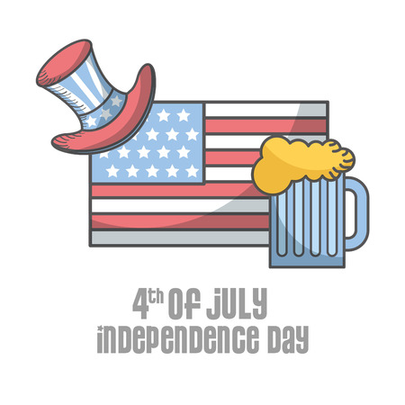 independence day american flag top hat and beer vector illustration Illustration