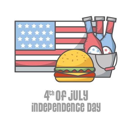 independence day american flag beer bottles burger vector illustration