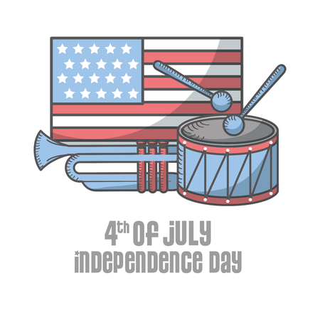 independence day american flag drum sticks and trumpet vector illustration