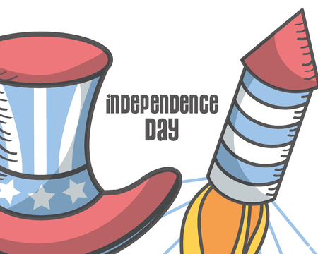 independence day american top hat and fireworks vector illustration