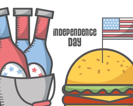 independence day american flag with beer bottles burger food vector illustration Illustration