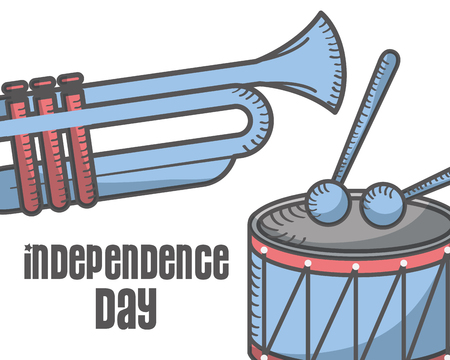 independence day american drum sticks and trumpet music vector illustration