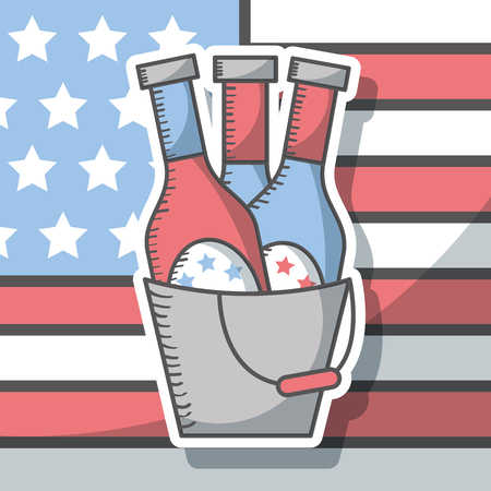 american flag and beers in bucket - independence day vector illustration