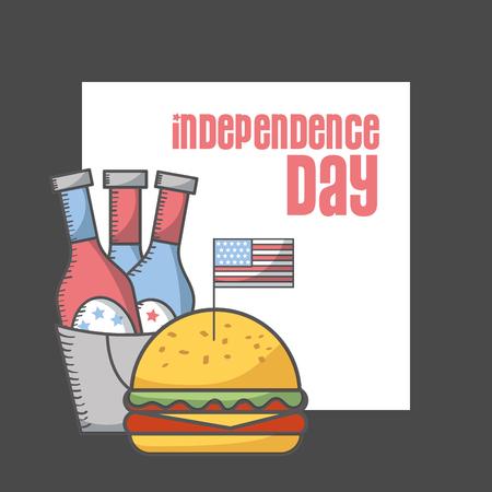 independence day american flag beer bottles burger banner vector illustration