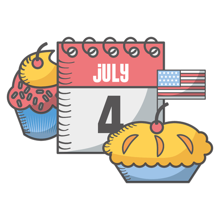 independence day american 4 july calendar cupcake apple pie vector illustration