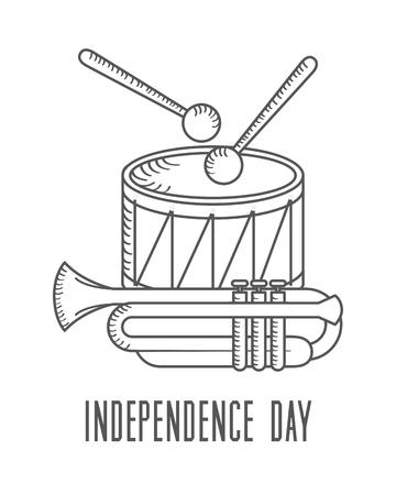 independence day american drum sticks and trumpet vector illustration sketch design Illustration