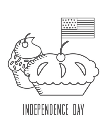 independence day american flag with sweet cupcakes vector illustration sketch design Illusztráció