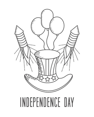 independence day american top hat and balloons fireworks vector illustration sketch design