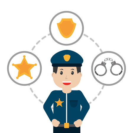 police man officer wit handcuffs and insignia vector illustration Vettoriali