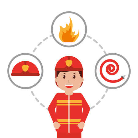 firefighter character profession with water hose, helmet and fire vector illustration