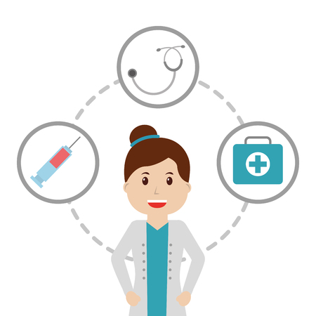 doctor female in uniform  with  stethoscope syringe first aid kit vector illustration