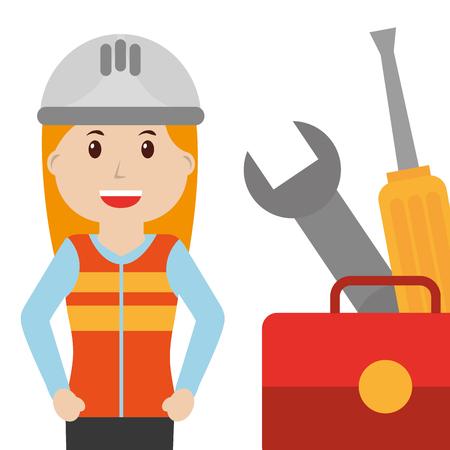 builder female in vest helmet and equipment vector illustration Illustration
