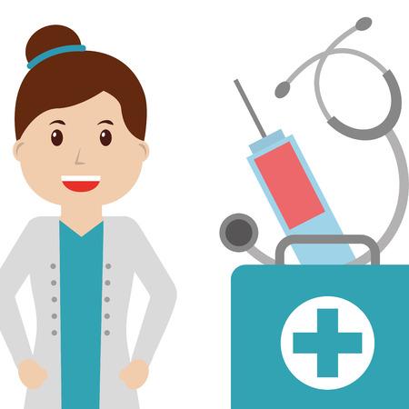 smiling doctor female first aid kit syringe and stethoscope vector illustration Illustration