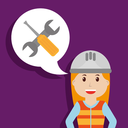 builder female worker wrench and screwdriver in bubble chat vector illustration Illustration