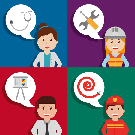 set people workers employee speech bubble tools vector illustration Illustration