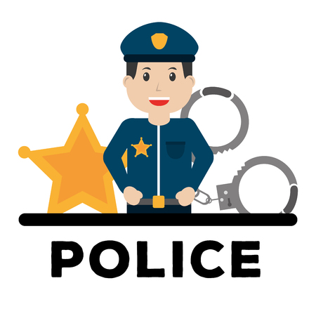 police man officer and equipment work poster vector illustration Vettoriali