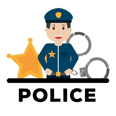 police man officer and equipment work poster vector illustration Illustration