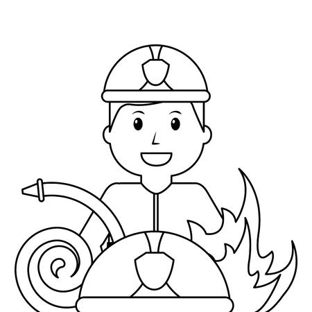 firefighter professional fire water hose work vector illustration outline design
