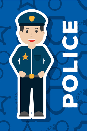 police man officer character blue background vector illustration