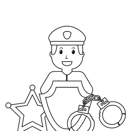 police man officer and equipment work poster vector illustration outline design