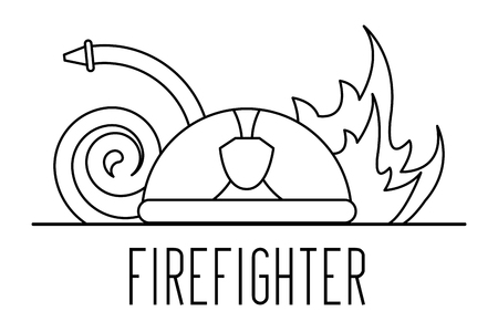 firefighter professional helmet water hose and helmet vector illustration outline design