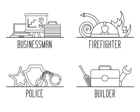 異なる職業の仕事用機器ベクトルイラストアウトラインデザインのセット
