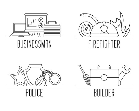 set of differents profession work equipment vector illustration outline design Illustration