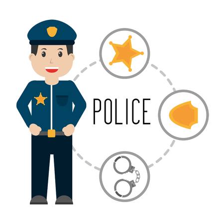 police man professional public work vector illustration