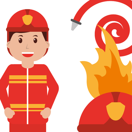 happy firefighter character profession water hose fire helmet vector illustration  イラスト・ベクター素材