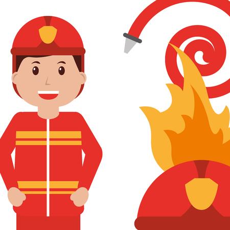 happy firefighter character profession water hose fire helmet vector illustration Illustration