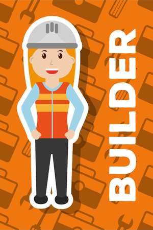 builder female character with helmet vest yellow background vector illustration