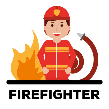 firefighter character professional avatar typography red background vector illustration Illustration