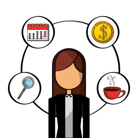 ビジネスウーマン従業員キャラクターアイコンベクトルイラスト  イラスト・ベクター素材