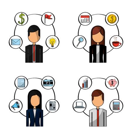 set of people busines office items vector illustration Illustration