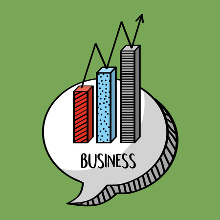 business statistics chart financial in bubble chat vector illustration