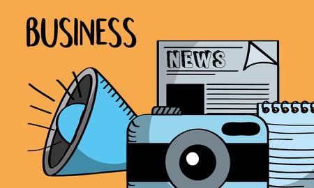 communication speaker news camera business vector illustration
