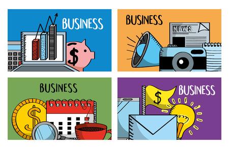 set of business banners laptop piggy calendar speaker vector illustration