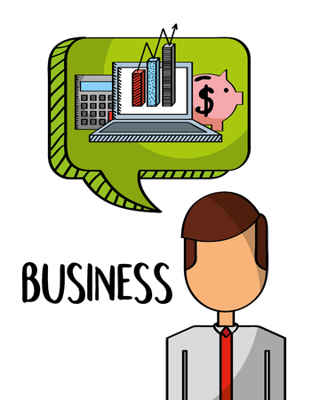 businessman with laptop piggy calculator in bubble chat business vector illustration Stock Illustratie