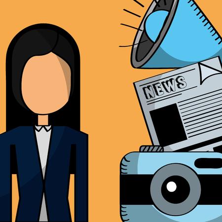 businesswoman camera news megaphone communication business vector illustration