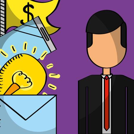 businessman message mobile money idea business vector illustration Illustration