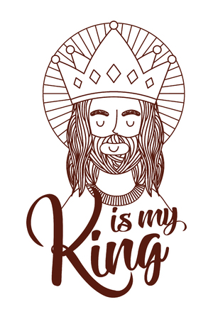jesus is my king engraving character with crown vector illustration Illustration