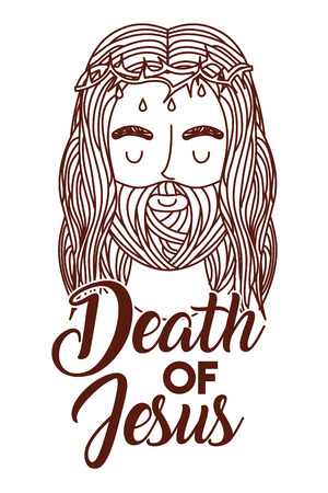 death of jesus with crown of thorns vector illustration