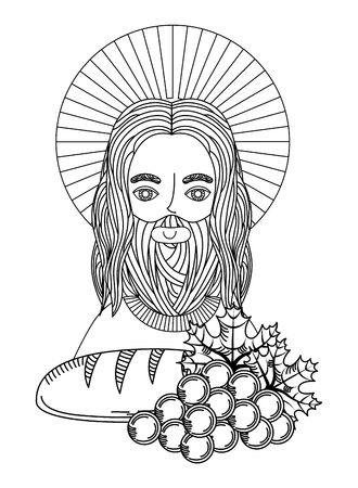 jesus bread and grape first communion engraving image vector illustration