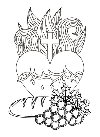 sacred heart of jesus communion bread and grape engraving vector illustration