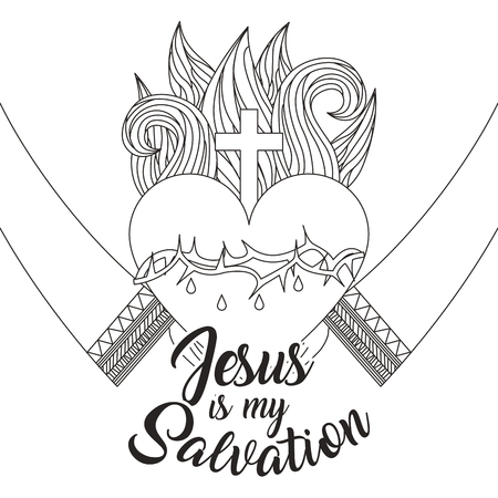 jesus is my salvation - hands with sacred heart vector illustration